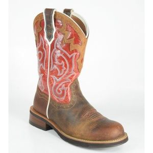 Ariat Unbridled Brown Mesa Red Western Boots NWOT